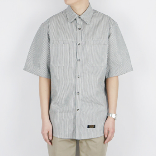 STRIPE WORK SHIRT (NAVY)