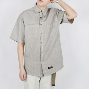 STRIPE WORK SHIRT (BLACK)